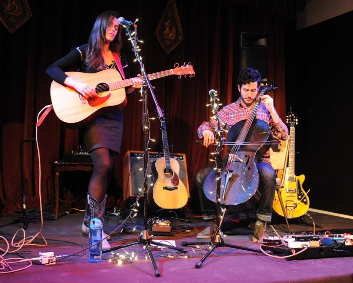Caitlin Canty and Harris Paseltiner perform at Merchants Hall in Rutland, VT. (Anthony Edwards / photo)